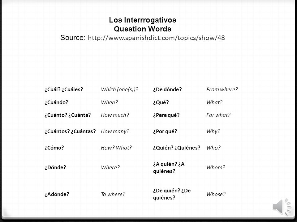 Los Interrrogativos Question Words Source:   spanishdict