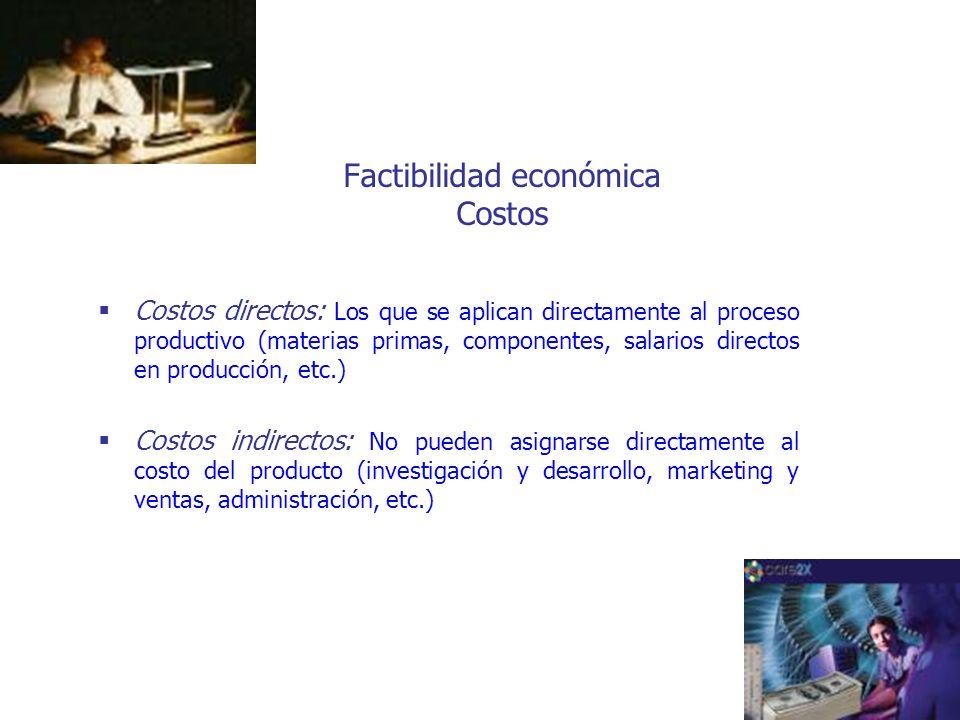 Factibilidad económica Costos