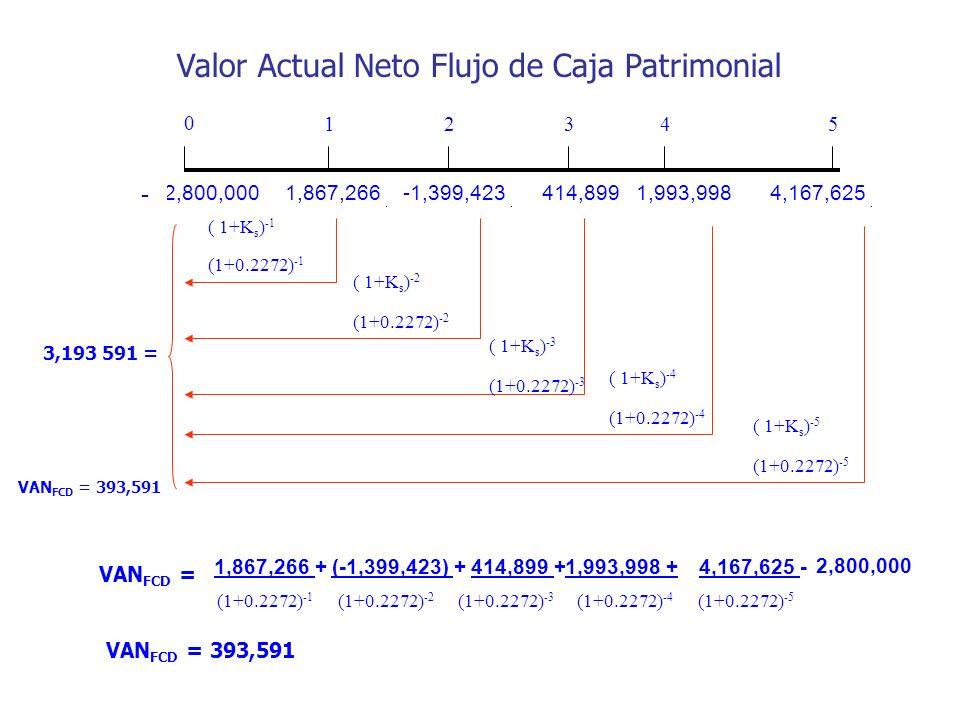 Valor Actual Neto Flujo de Caja Patrimonial