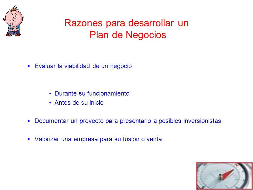 Razones para desarrollar un Plan de Negocios