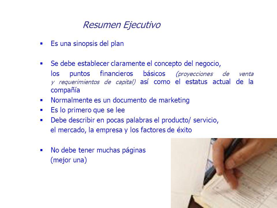 Resumen Ejecutivo Es una sinopsis del plan