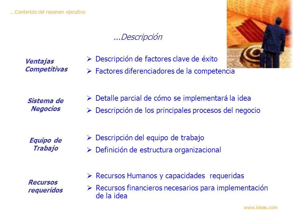 ...Descripción Descripción de factores clave de éxito