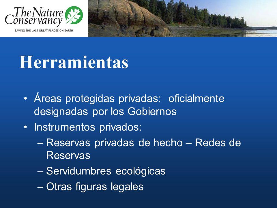 HerramientasÁreas protegidas privadas: oficialmente designadas por los Gobiernos. Instrumentos privados: