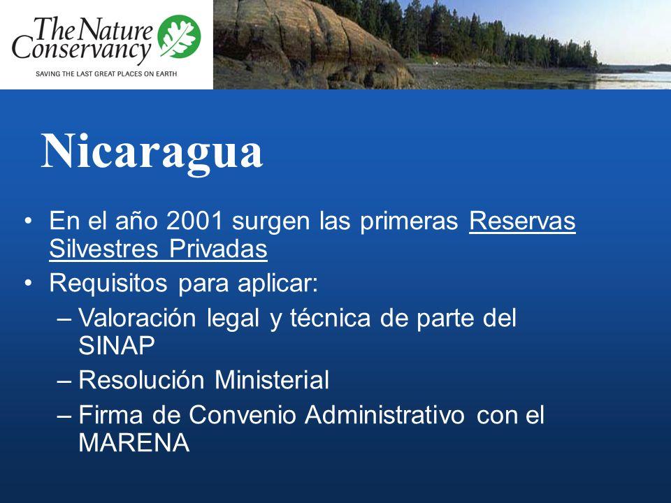 NicaraguaEn el año 2001 surgen las primeras Reservas Silvestres Privadas. Requisitos para aplicar: Valoración legal y técnica de parte del SINAP.
