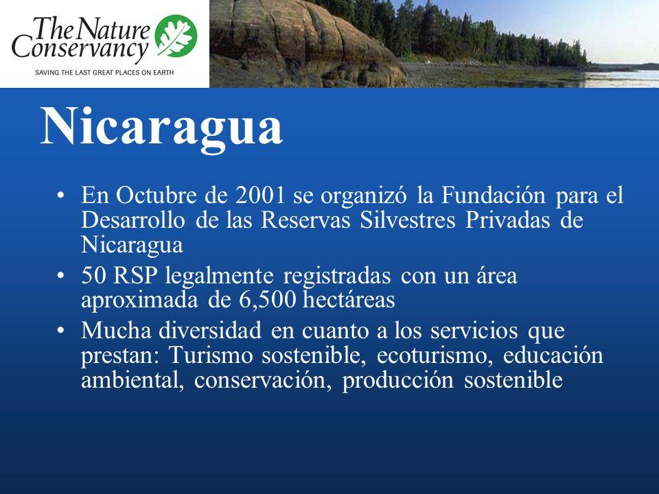 NicaraguaEn Octubre de 2001 se organizó la Fundación para el Desarrollo de las Reservas Silvestres Privadas de Nicaragua.