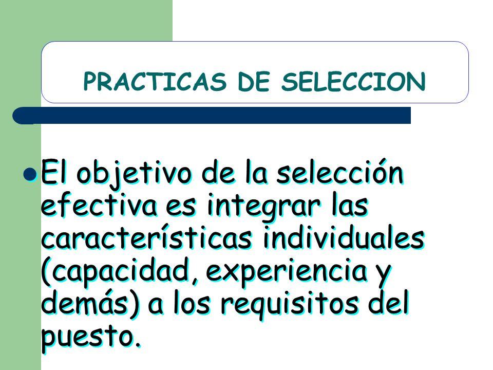 PRACTICAS DE SELECCION