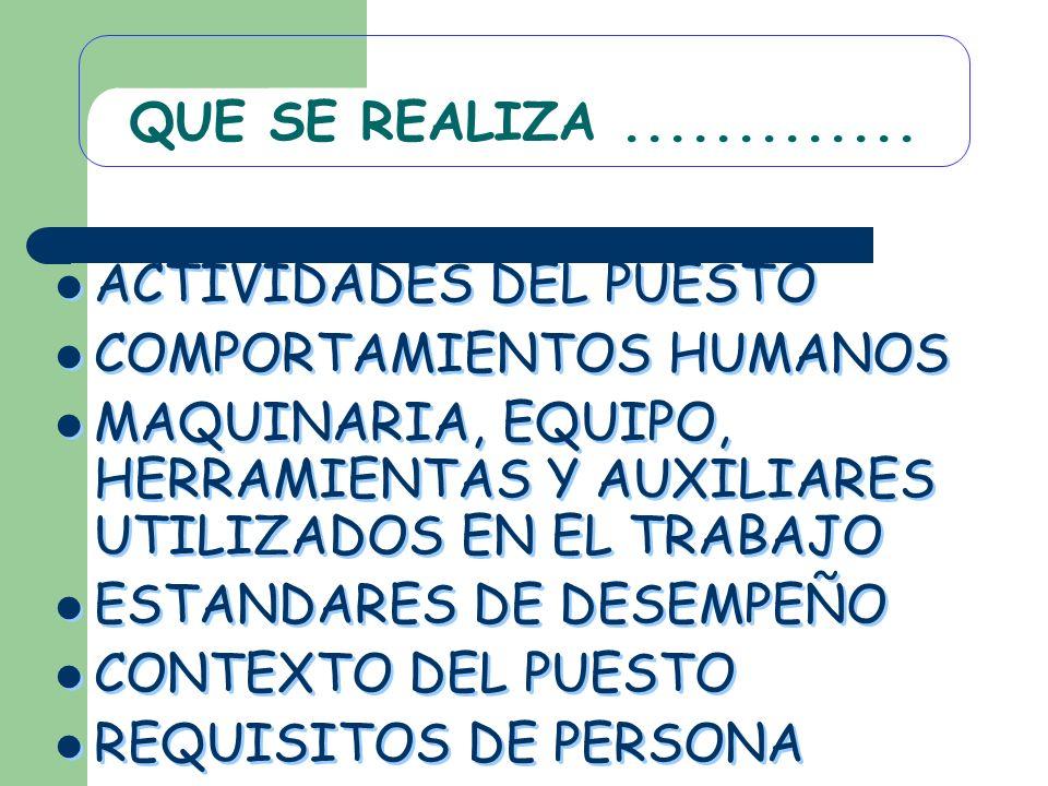 QUE SE REALIZA .............ACTIVIDADES DEL PUESTO. COMPORTAMIENTOS HUMANOS. MAQUINARIA, EQUIPO, HERRAMIENTAS Y AUXILIARES UTILIZADOS EN EL TRABAJO.