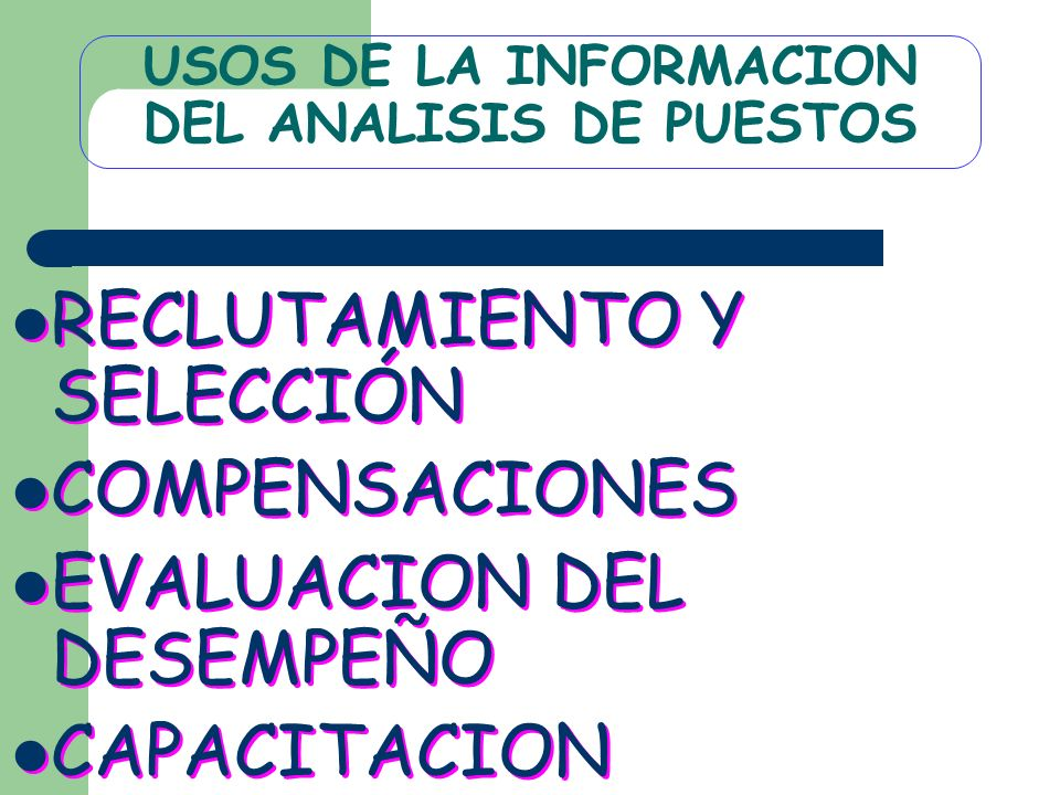 USOS DE LA INFORMACION DEL ANALISIS DE PUESTOS