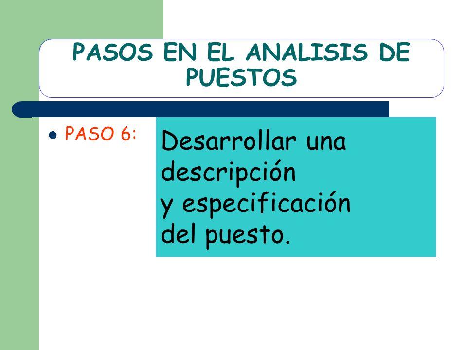 PASOS EN EL ANALISIS DE PUESTOS