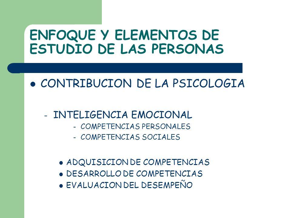 ENFOQUE Y ELEMENTOS DE ESTUDIO DE LAS PERSONAS