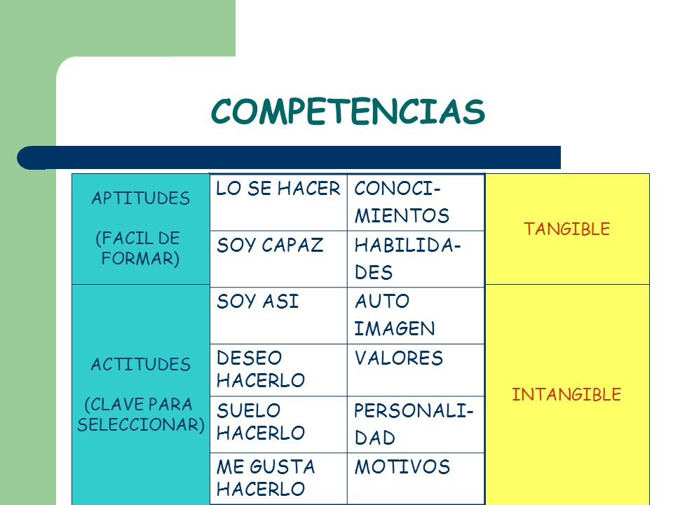 COMPETENCIAS LO SE HACER CONOCI- MIENTOS SOY CAPAZ HABILIDA- DES