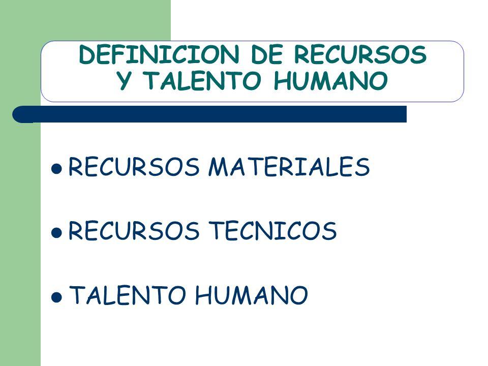 DEFINICION DE RECURSOS Y TALENTO HUMANO