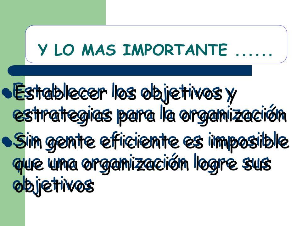 Establecer los objetivos y estrategias para la organización