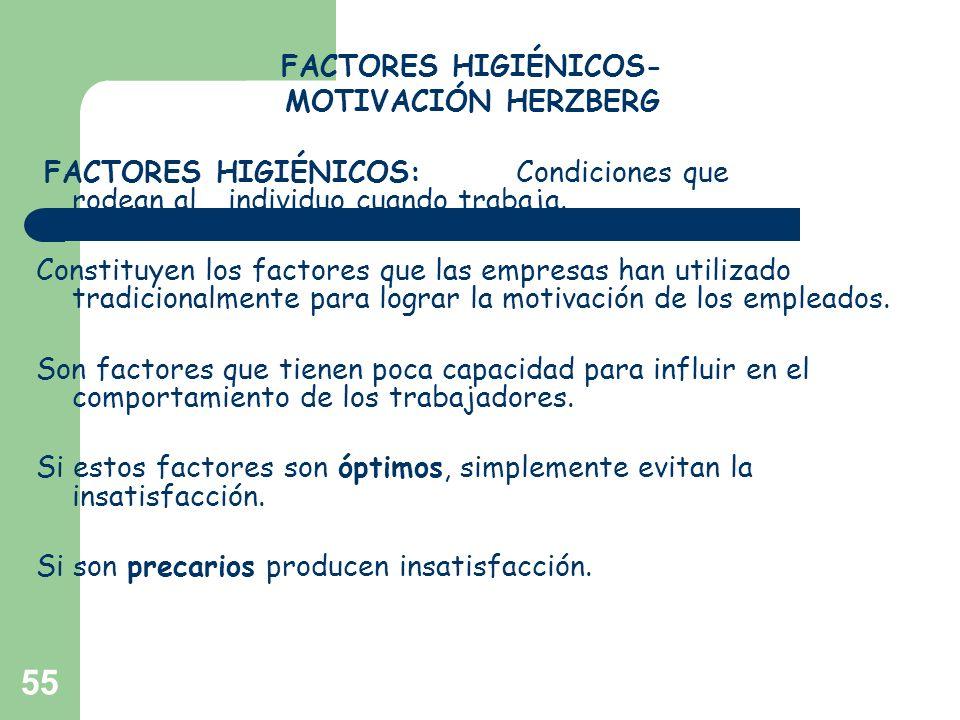 FACTORES HIGIÉNICOS-MOTIVACIÓN HERZBERG. FACTORES HIGIÉNICOS: Condiciones que rodean al individuo cuando trabaja.