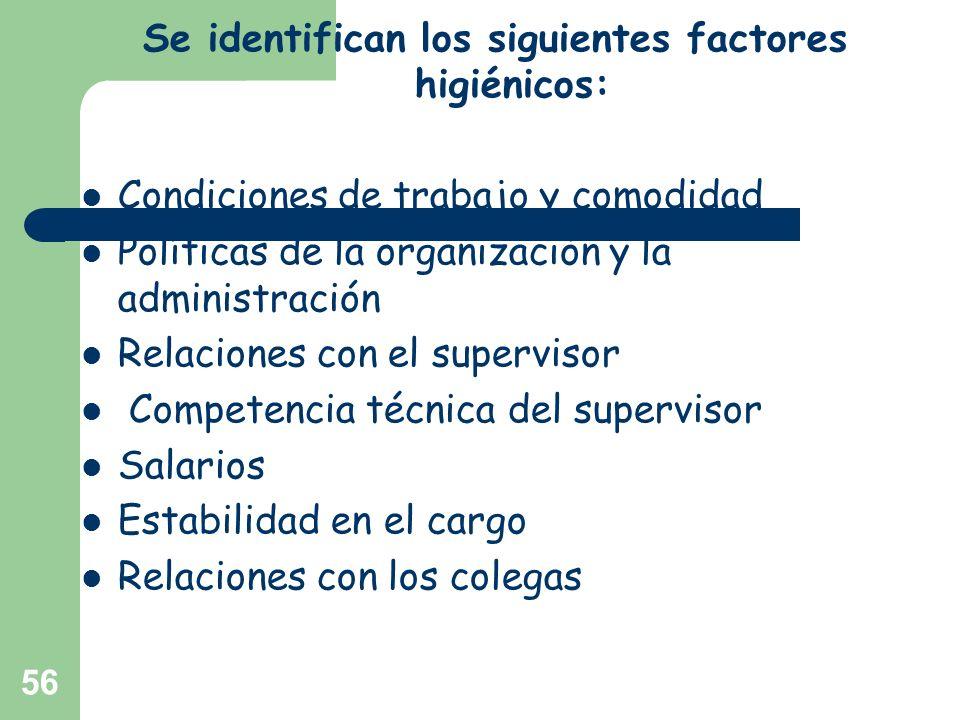 Se identifican los siguientes factores higiénicos: