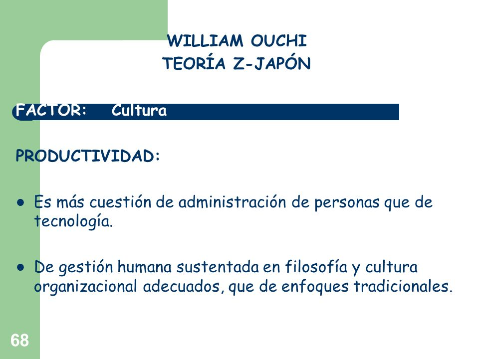 WILLIAM OUCHITEORÍA Z-JAPÓN. FACTOR: Cultura. PRODUCTIVIDAD: Es más cuestión de administración de personas que de tecnología.