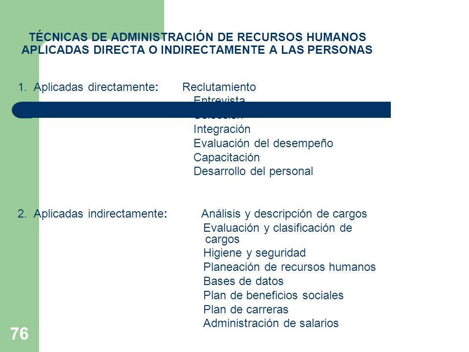 TÉCNICAS DE ADMINISTRACIÓN DE RECURSOS HUMANOS APLICADAS DIRECTA O INDIRECTAMENTE A LAS PERSONAS