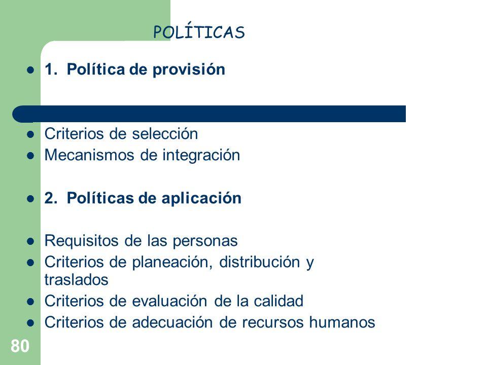 POLÍTICAS 1. Política de provisión. Dónde reclutar y qué técnica emplear. Criterios de selección.