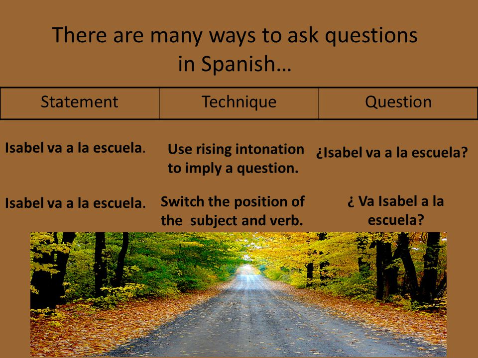 There are many ways to ask questions in Spanish…