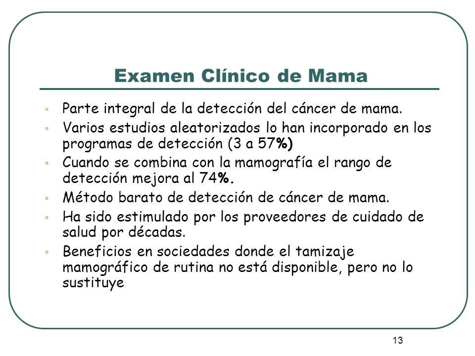 Examen Clínico de Mama Parte integral de la detección del cáncer de mama.