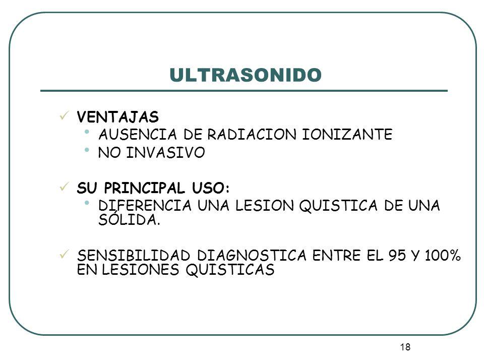 ULTRASONIDO VENTAJAS AUSENCIA DE RADIACION IONIZANTE NO INVASIVO