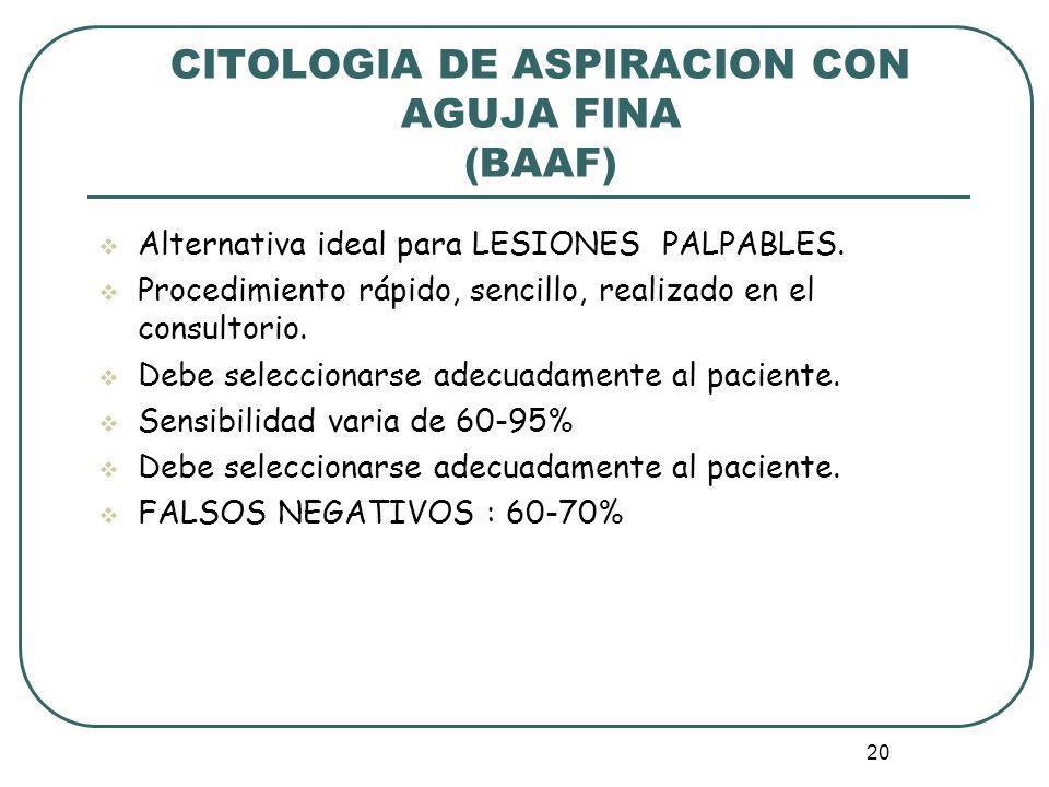 CITOLOGIA DE ASPIRACION CON AGUJA FINA (BAAF)
