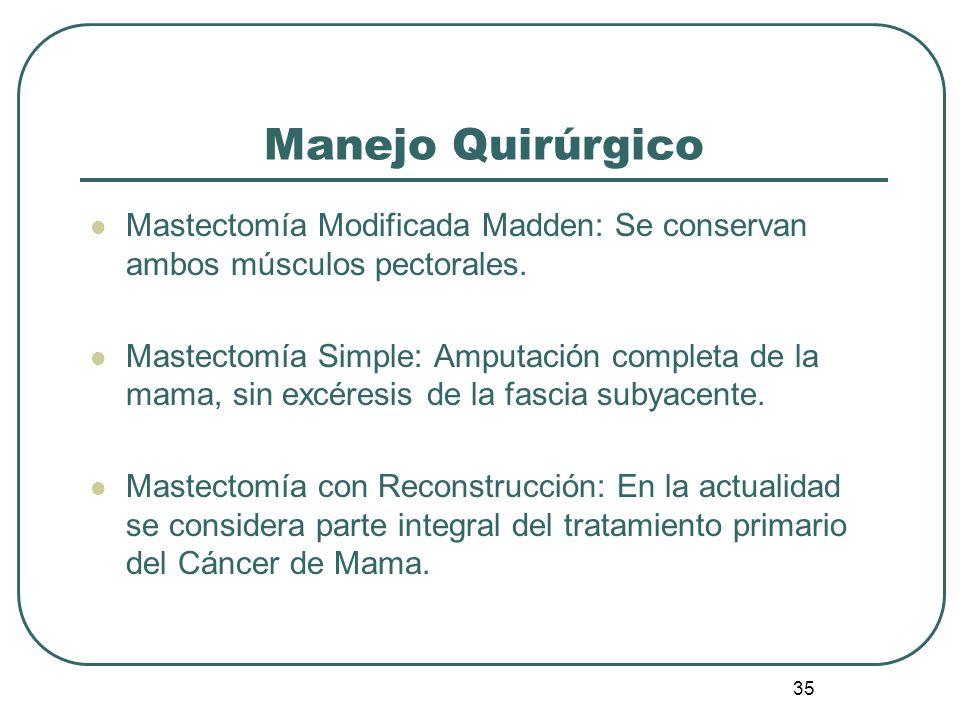 Manejo Quirúrgico Mastectomía Modificada Madden: Se conservan ambos músculos pectorales.