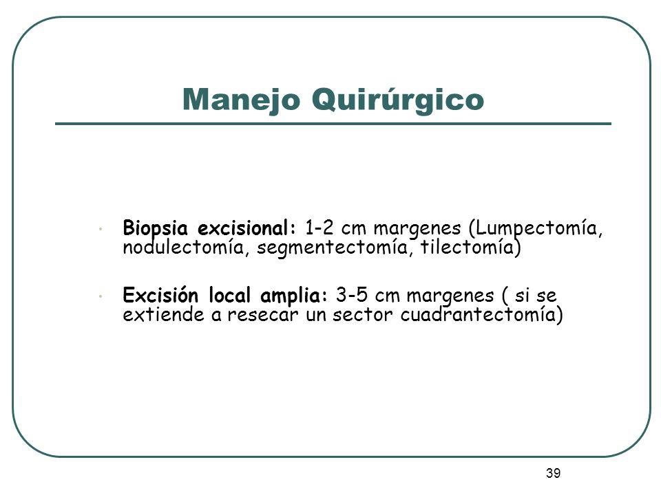 Manejo Quirúrgico Biopsia excisional: 1-2 cm margenes (Lumpectomía, nodulectomía, segmentectomía, tilectomía)