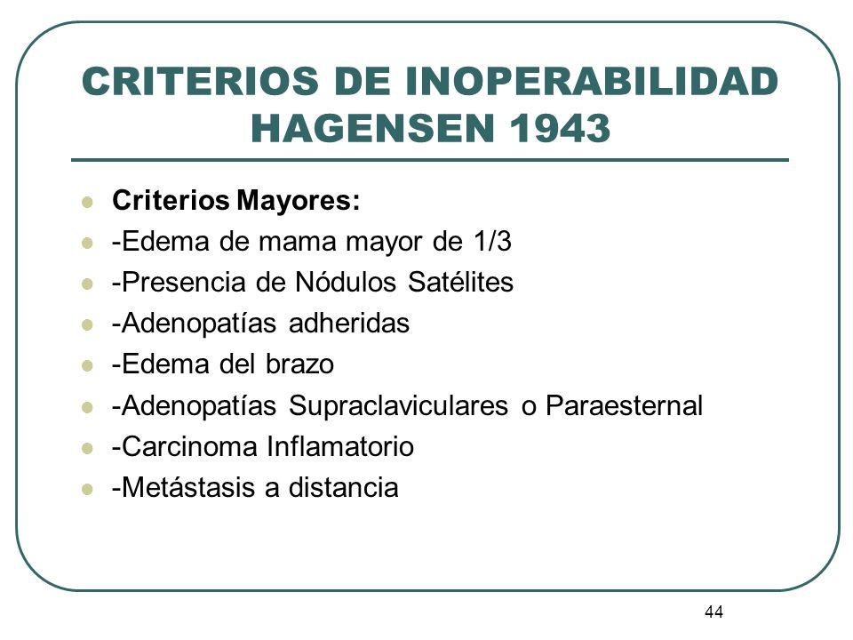 CRITERIOS DE INOPERABILIDAD HAGENSEN 1943