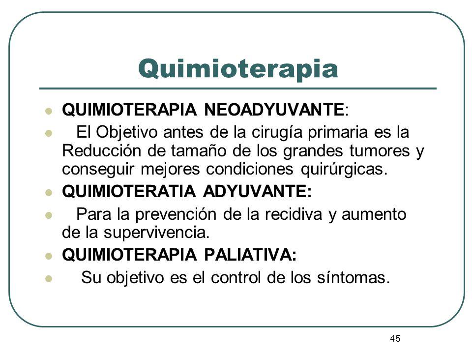 Quimioterapia QUIMIOTERAPIA NEOADYUVANTE: