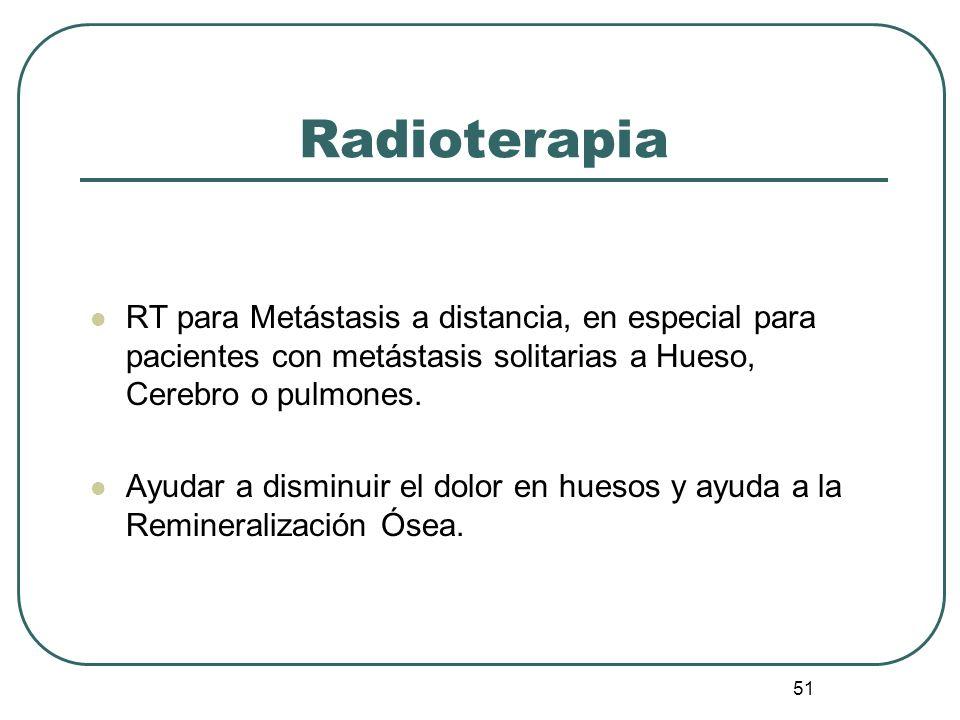 Radioterapia RT para Metástasis a distancia, en especial para pacientes con metástasis solitarias a Hueso, Cerebro o pulmones.