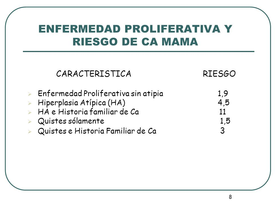 ENFERMEDAD PROLIFERATIVA Y RIESGO DE CA MAMA