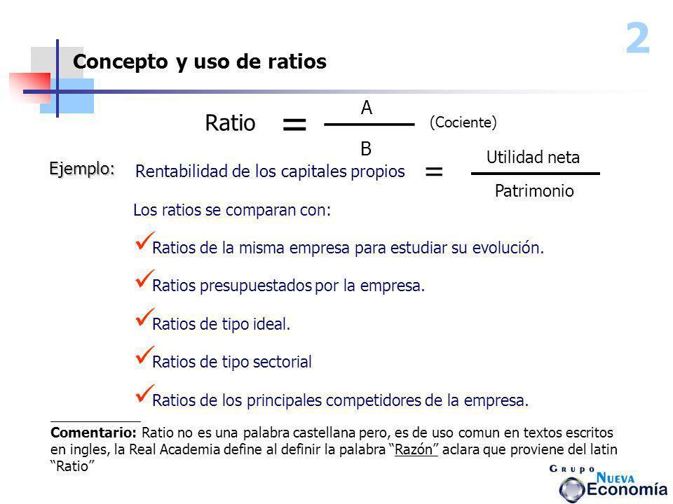 2 ____ = = Ratio Concepto y uso de ratios A B Utilidad neta Ejemplo: