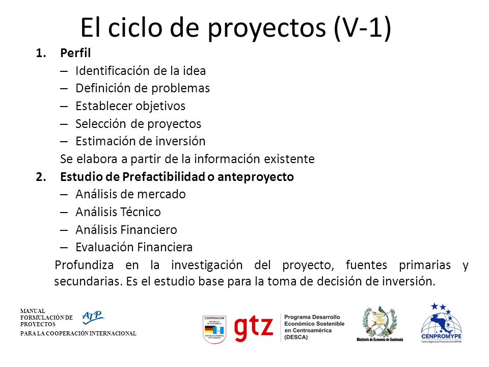 El ciclo de proyectos (V-1)