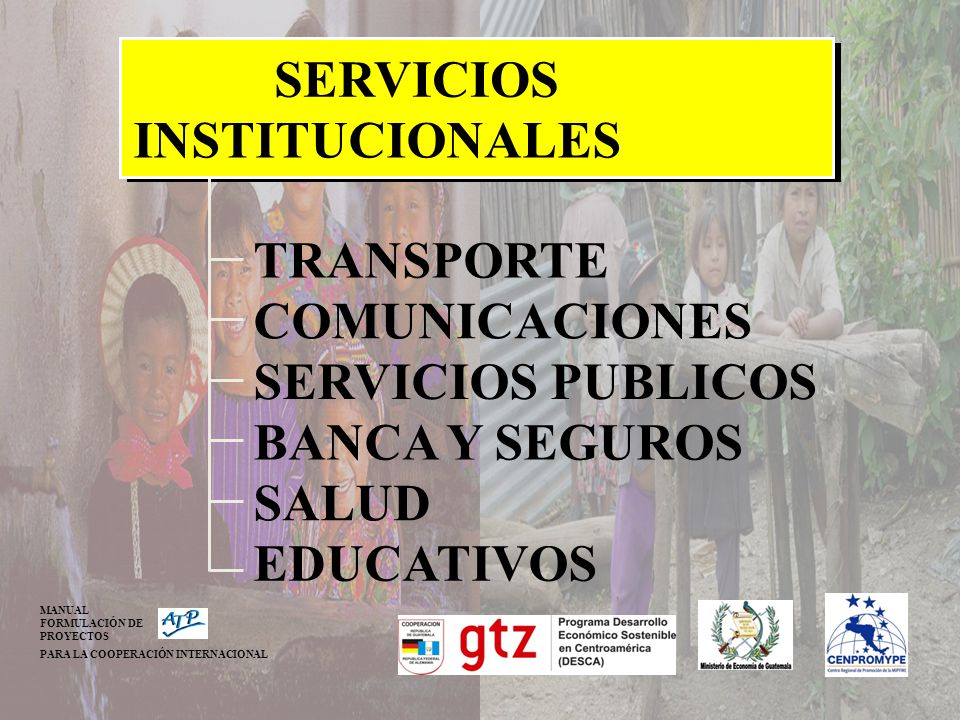 SERVICIOS INSTITUCIONALES TRANSPORTE COMUNICACIONES SERVICIOS PUBLICOS