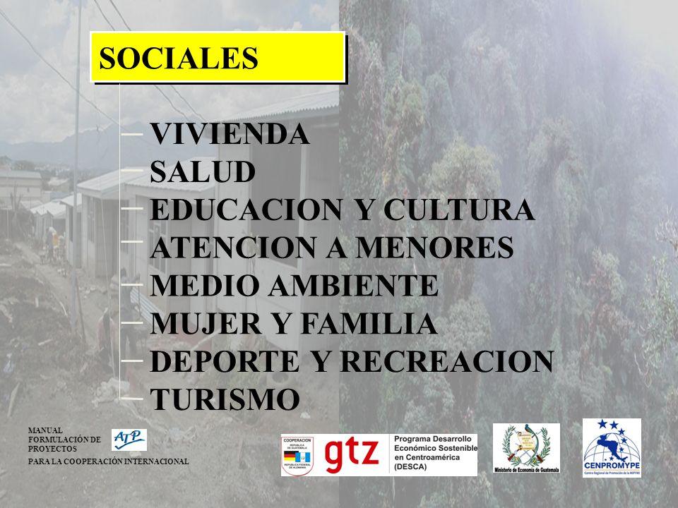 SOCIALES VIVIENDA SALUD EDUCACION Y CULTURA ATENCION A MENORES