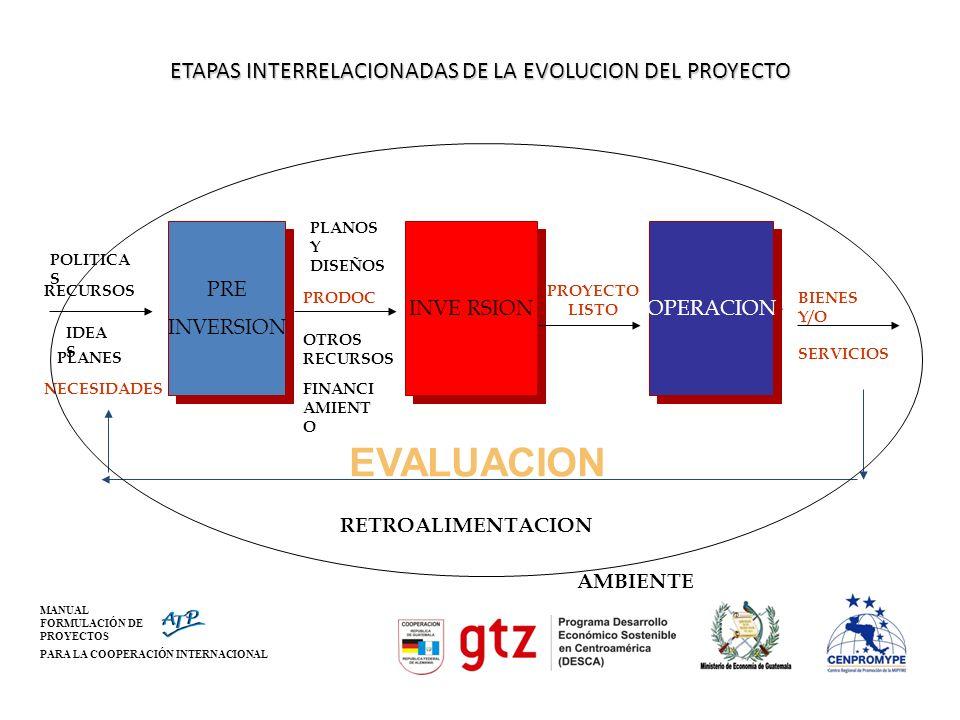 ETAPAS INTERRELACIONADAS DE LA EVOLUCION DEL PROYECTO