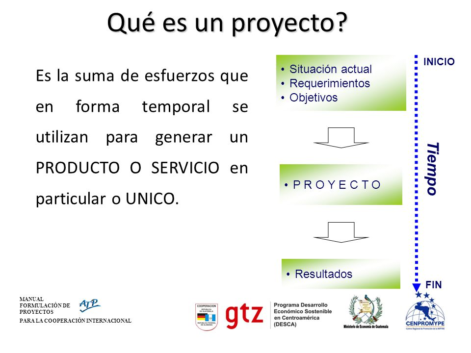 Qué es un proyecto Es la suma de esfuerzos que en forma temporal se utilizan para generar un PRODUCTO O SERVICIO en particular o UNICO.
