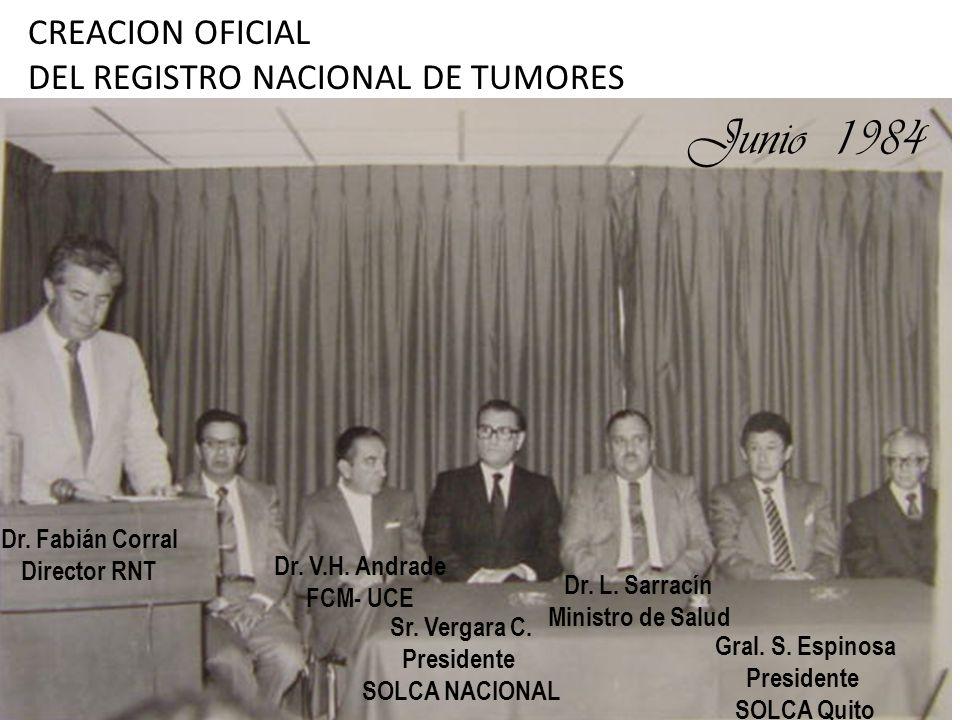 Junio 1984 CREACION OFICIAL DEL REGISTRO NACIONAL DE TUMORES