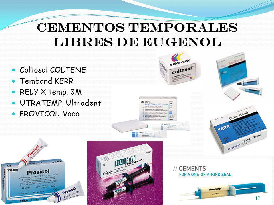 Cementos temporales libres de eugenol