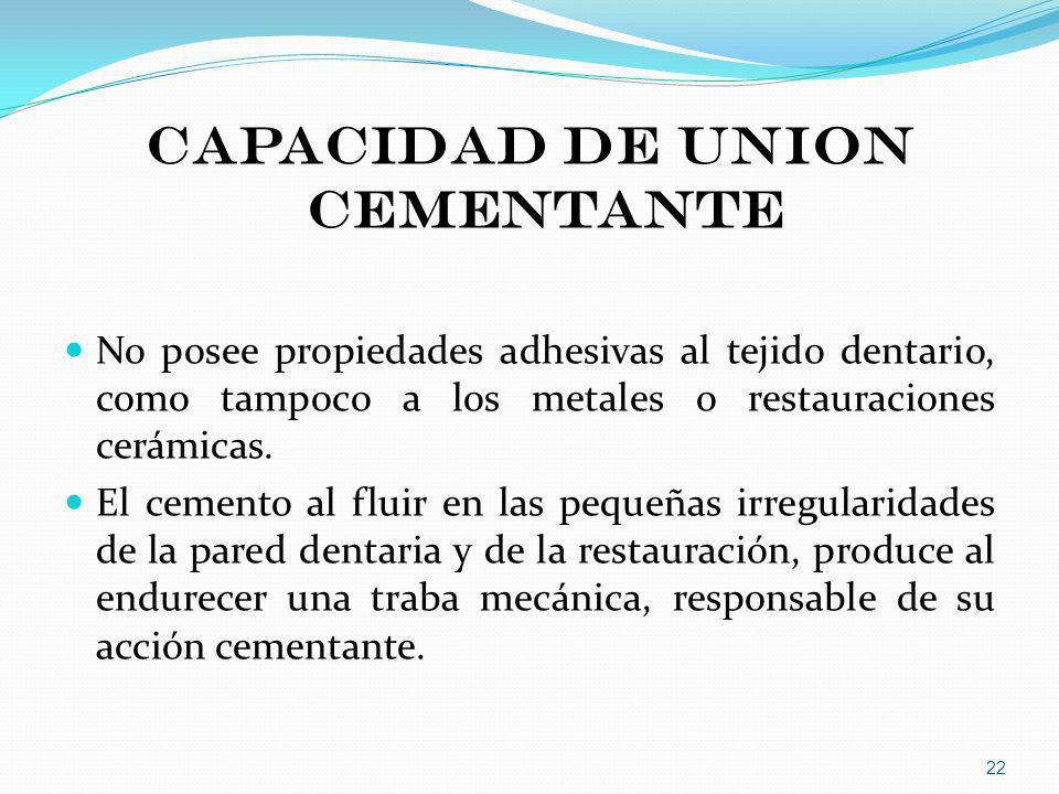 CAPACIDAD DE UNION CEMENTANTE