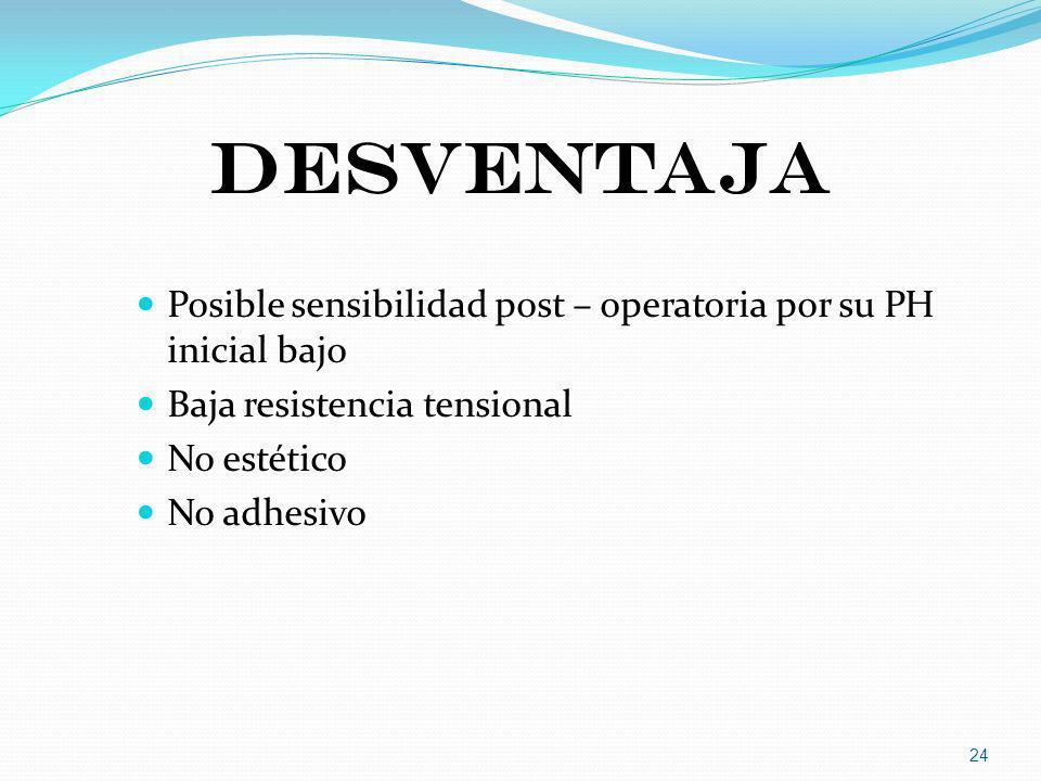 DESVENTAJA Posible sensibilidad post – operatoria por su PH inicial bajo. Baja resistencia tensional.