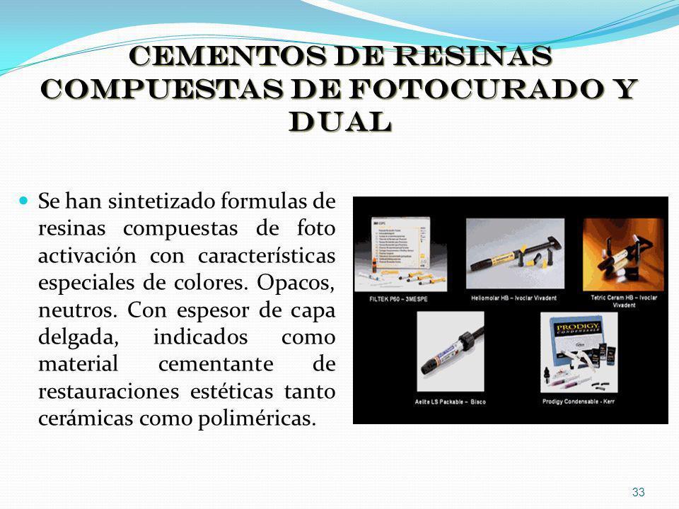 CEMENTOS DE RESINAS COMPUESTAS DE FOTOCURADO Y DUAL