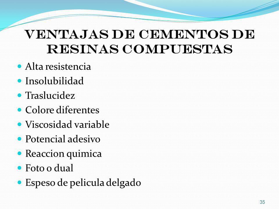 VENTAJAS DE CEMENTOS DE RESINAS COMPUESTAS