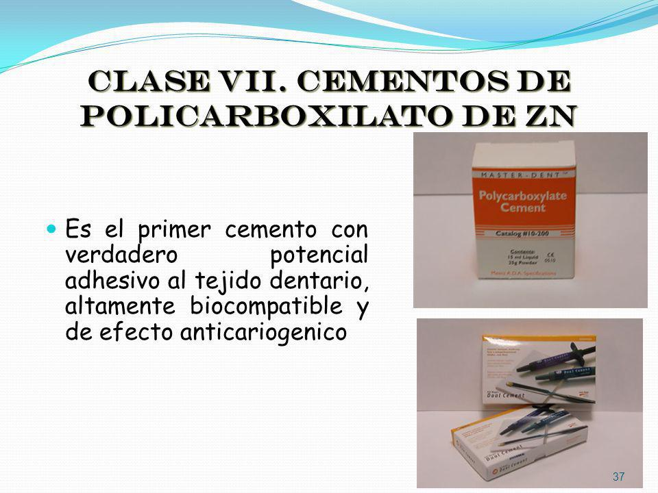 CLASE VII. CEMENTOS DE POLICARBOXILATO DE ZN
