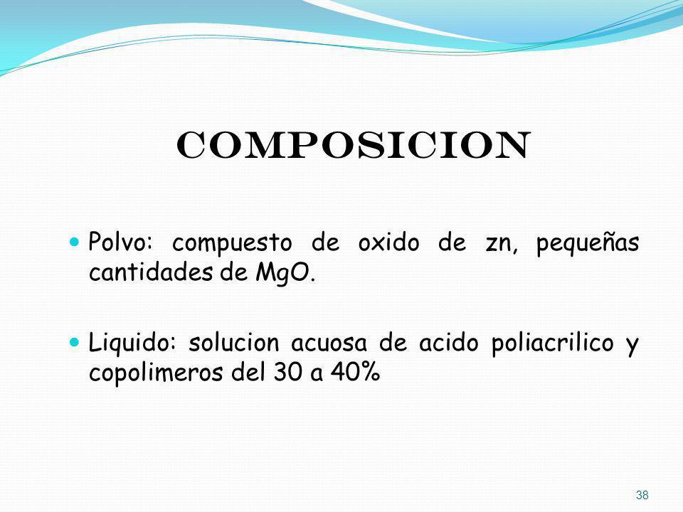 COMPOSICION Polvo: compuesto de oxido de zn, pequeñas cantidades de MgO.