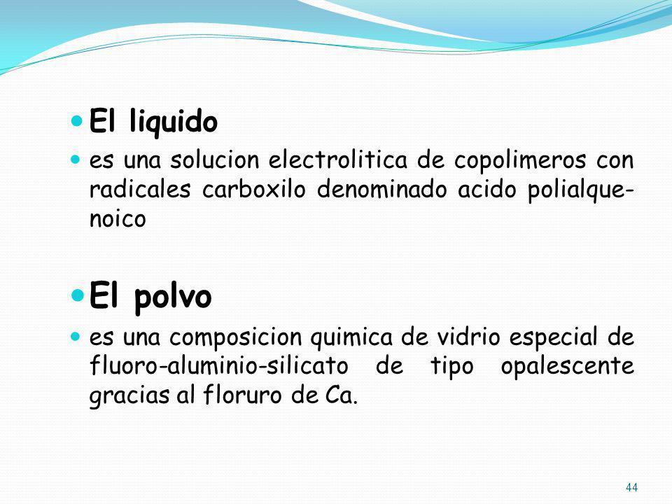 El liquido es una solucion electrolitica de copolimeros con radicales carboxilo denominado acido polialque-noico.