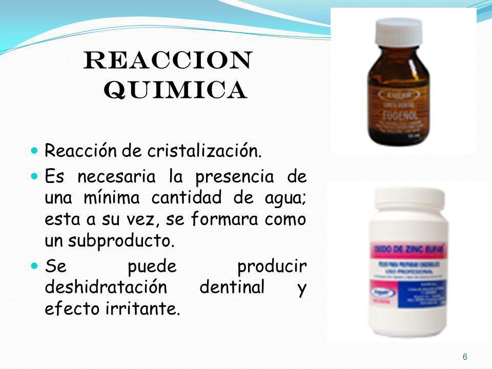 REACCION QUIMICA Reacción de cristalización.