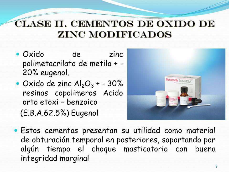 CLASE II. CEMENTOS DE OXIDO DE ZINC MODIFICADOS