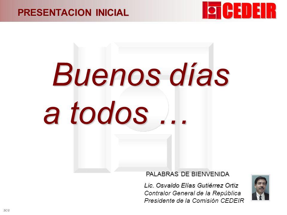 Buenos días a todos … PRESENTACION INICIAL PALABRAS DE BIENVENIDA